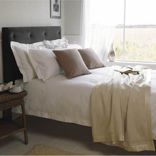 Linge de lit de luxe en satinde coton Égyptien 400 fils Blancs/cm² - 1000TC - Housse de Couette avec bord