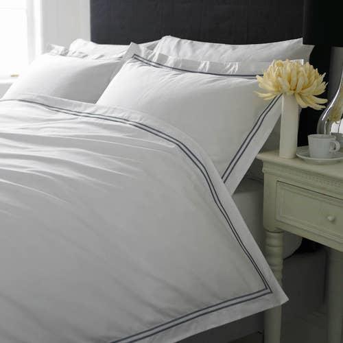 Linge de lit Boutique en percale de coton Égyptien 160 fils / 400TC à double Cordon Gris -  Housse de Couette