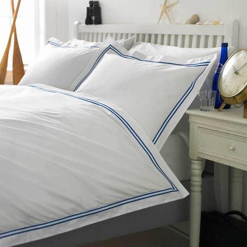Linge de lit Boutique en percale de coton Égyptien 160 fils / 400TC à double Cordon Bleu -  Housse de Couette