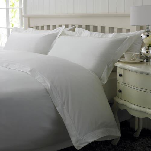 Linge de lit Boutique en percale de coton Égyptien 160 fils / 400TC à double Cordon Blanc -  Housse de Couette