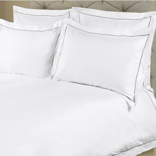 Parure de lit Amalfi de coton Égyptien 240 fils/cm² - 600TC avec Cordon Gris - Housse de Couette