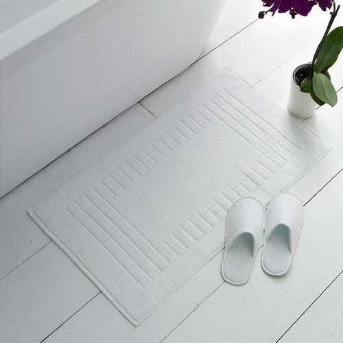Tapis de bain blanc en éponge 100% coton 1000g/m²