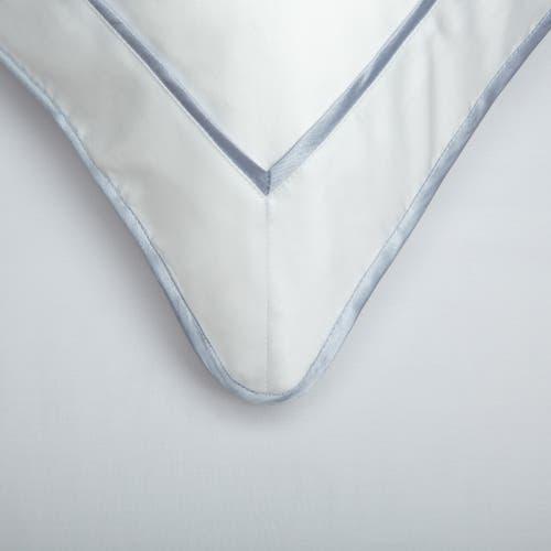 Parure de lit Monaco en satin de coton 220 fils/cm² - 550TC - liseré bleu platine - housse de coussin