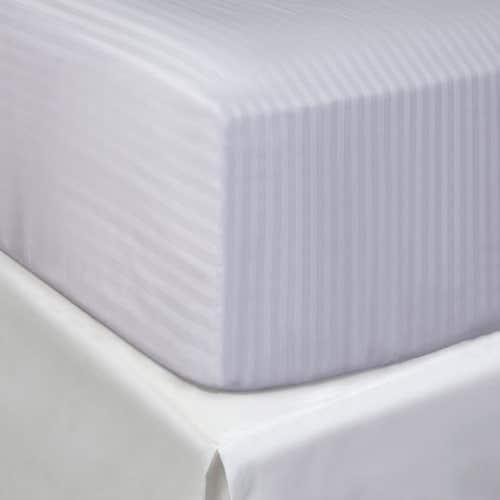 Linge de lit en coton Égyptien 120 fils/cm² - 300TC Satin de Coton avec rayures - Drap Housse