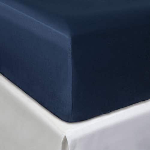 Linge de Lit en satin de coton Pelle d'Uovo 120 fils/cm² - 300TC Satin de Coton - Bleu Marine - Drap Housse
