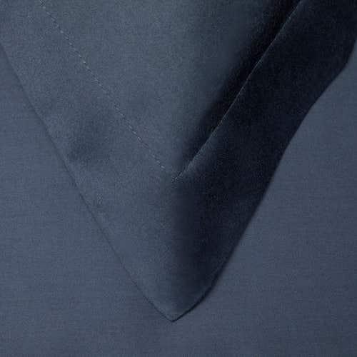 Linge de Lit en satin de coton Pelle d'Uovo 120 fils/cm² - 300TC Satin de Coton - Bleu Marine - Taie d'Oreiller