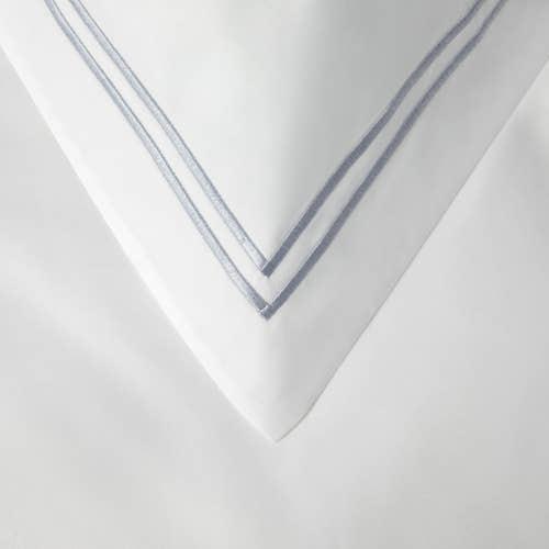 Linge de lit Boutique en percale de coton Égyptien 160 fils / 400TC à double Cordon Gris -  Taie d'Oreiller