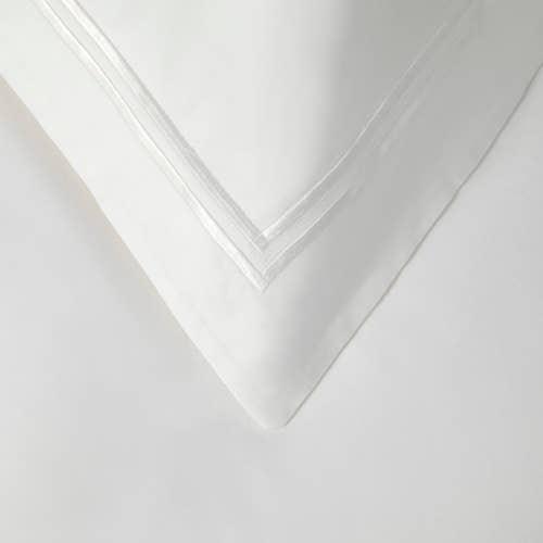 Linge de lit Boutique en percale de coton Égyptien 160 fils / 400TC à double Cordon Blanc -  Taie d'Oreiller