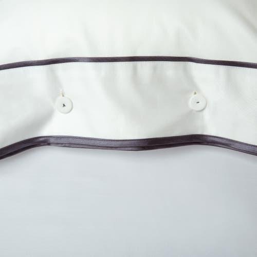 Parure de lit Monaco en satin de coton 220 fils/cm² - 550TC - liseré athracite - oreiller avec boutons