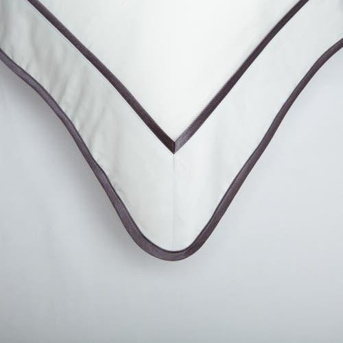 Parure de lit Monaco en satin de coton 220 fils/cm² - 550TC - liseré gris anthracite - housse de coussin