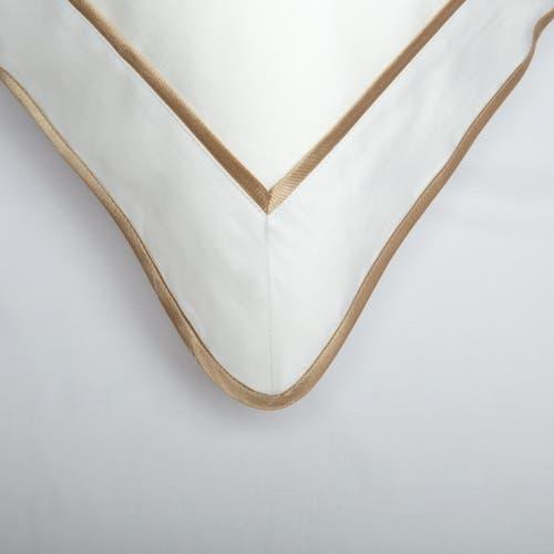 Parure de lit Monaco en satin de coton 220 fils/cm² - 550TC - liseré vison - housse de coussin