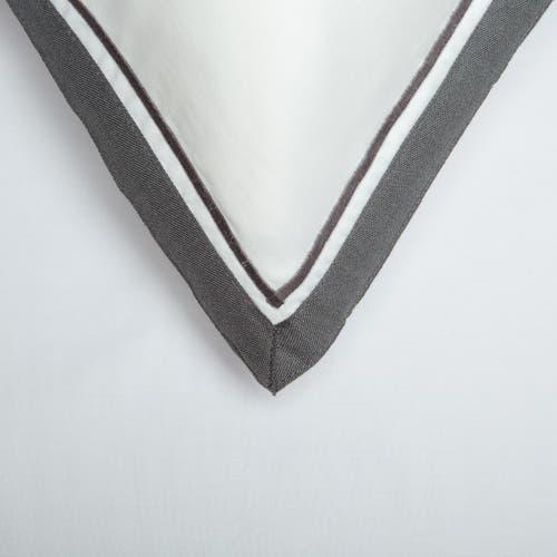 Parure de lit Bologne en Satin de Coton 120 Fils - 300TC - Blanc à Bord Gris - Taie d'Oreiller
