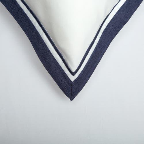 Parure de lit Bologne en Satin de Coton 120 Fils - 300TC - Blanc à Bord Bleu Marine - Taie d'Oreiller