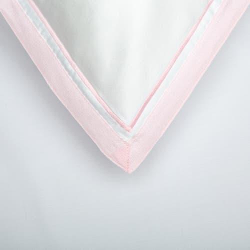 Parure de lit Bologne en Satin de Coton 120 Fils - 300TC - Blanc à Bord Rose - Housse de Couette