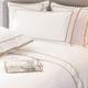 Parure de lit Monaco en satin de coton 220 fils/cm² - 550TC - liseré Gris Vison