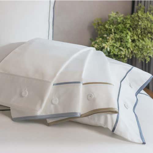 Parure de lit Monaco en satin de coton 220 fils/cm² - 550TC - liseré Gris Anthracite