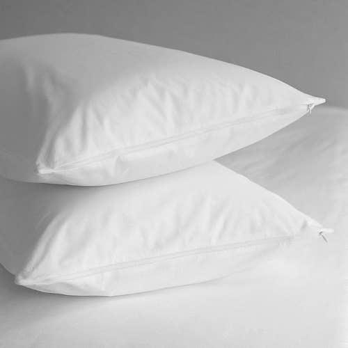 Protecteur d'oreiller (paire) Percale de pur coton enduite de teflon ou percale de polycoton 80 fils