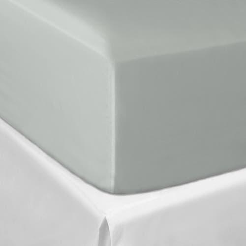 Linge de Lit en satin de coton Pelle d'Uovo 120 fils/cm² - 300TC Satin de Coton - Gris Platine - Drap Housse