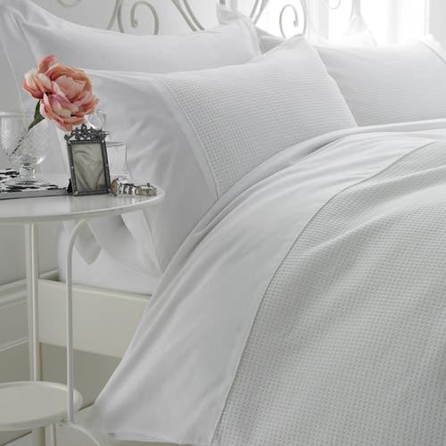 Parure de lit en Nid d'abeille en coton égyptien 80 Fils - 200TC - Housse de Couette avec Taie(s) d'Oreiller